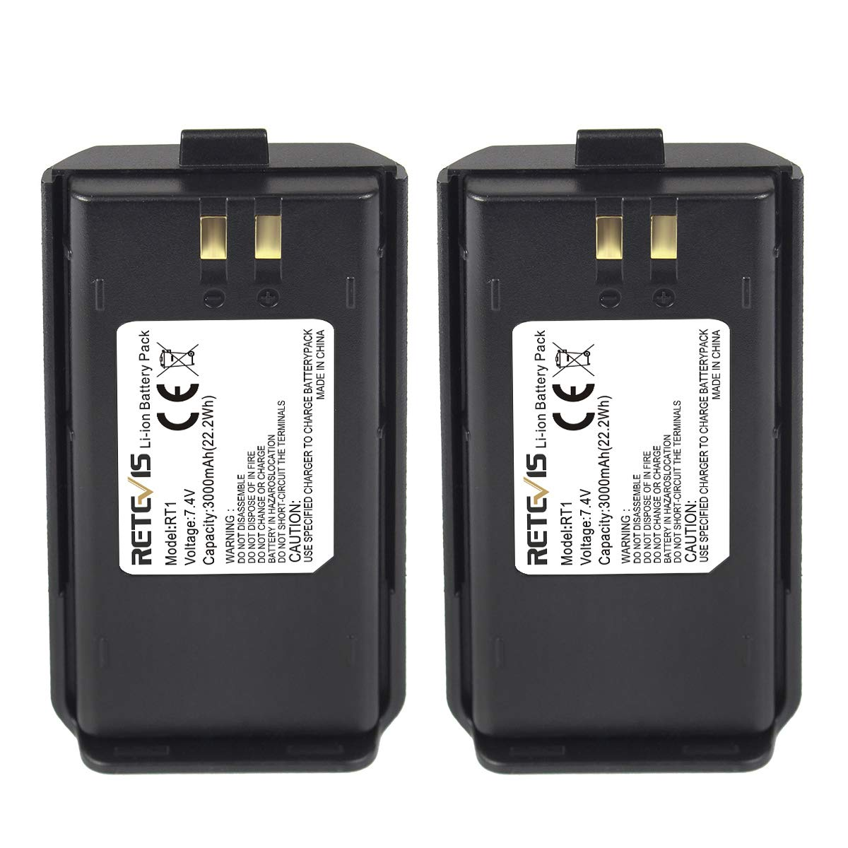 Retevis RT1 Two Way Radio Battery 3000mAh Original Li-ion Radio Battery Compatible with TYT Tytera TC-3000A RT1 Walkie Talkie (2 Pack)