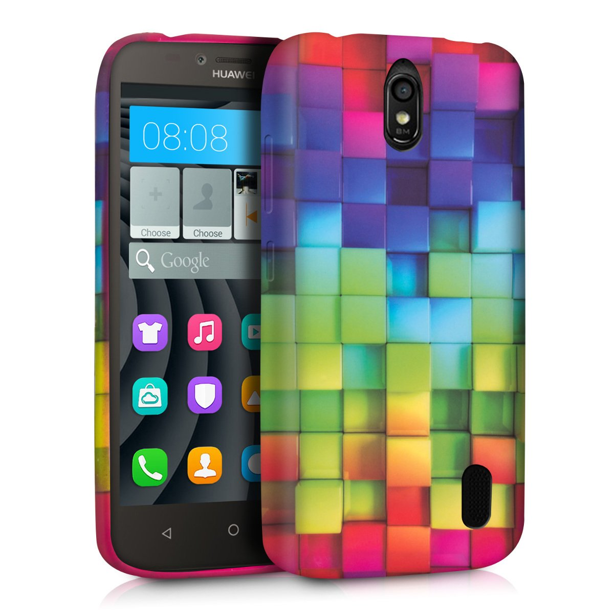 kwmobile Funda para Huawei Y625 - Carcasa de TPU para móvil y diseño de Cubos de Colores en Multicolor/Verde/Azul
