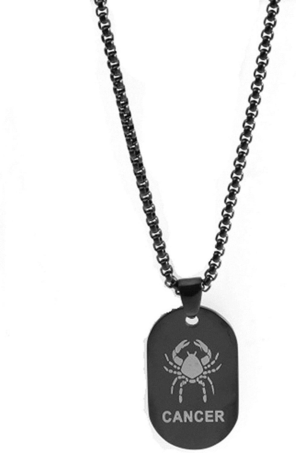 LOPEZ KENT Jewelry Mens Stainless Steel 12 Constellation Zodiac Tag Necklace Pendant Silver