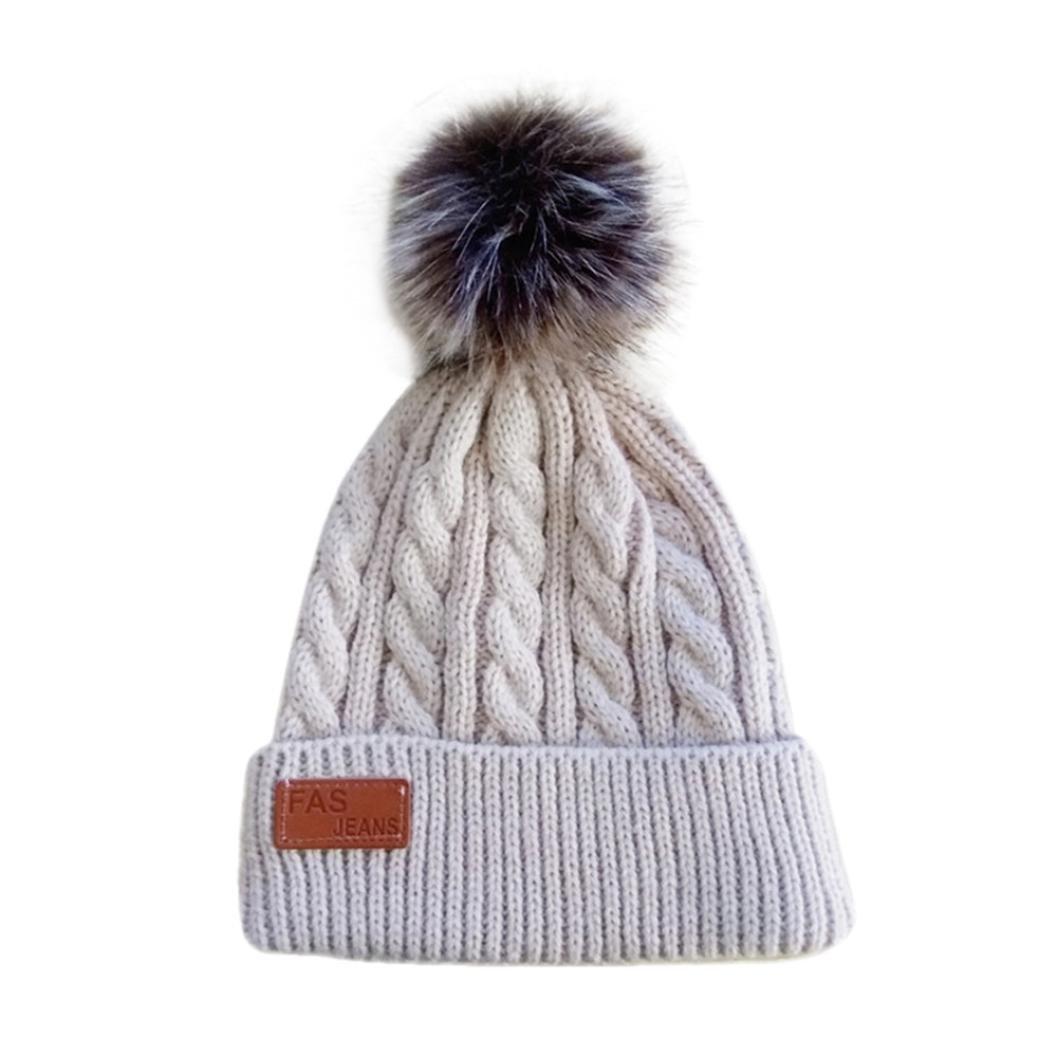 fd5607ba47d Amazon.com  Unisex Baby Hat Longay Winter CC Beanie Faux Fur Pom-pom Gorro  Cable Slouchy Skull Cap Outdoor Hat (Beige)  Baby