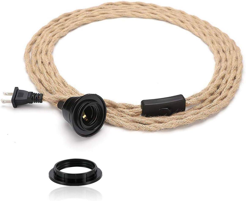 Cable de luz colgante industrial de 4,6 m – Kit de luz colgante con interruptor de enchufe en tela vintage con cuerda de cáñamo trenzado E26 E27 para lámpara de techo de granja cable DIY