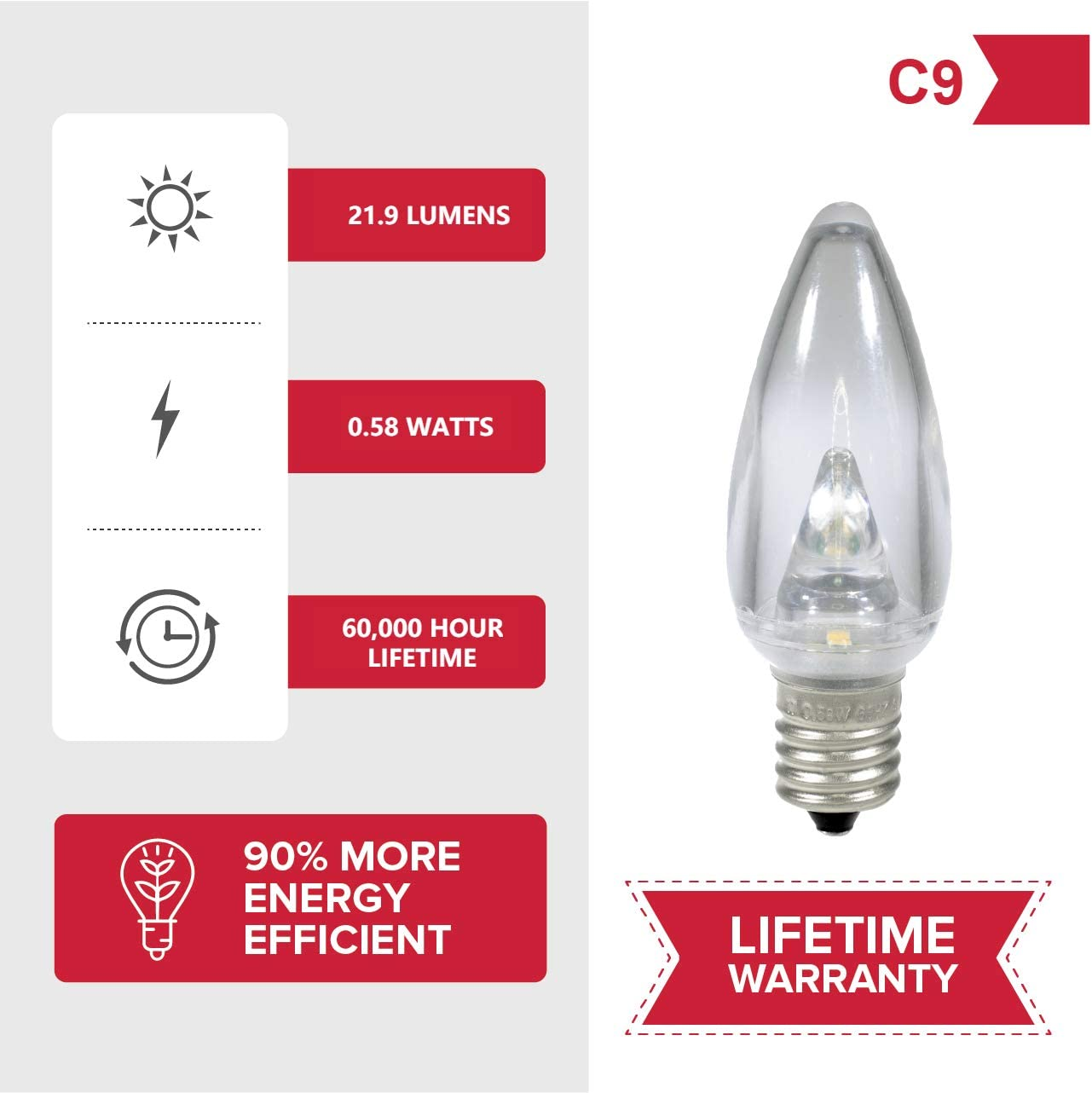 Bulbs 3 Diode 0.58 Watt Energy Efficient Commercial Grade LED Pack of 25 Bulbs Holiday Lighting Outlet LED Smooth C9 Sun Warm White Replacement Christmas Light Bulbs for E17 Sockets