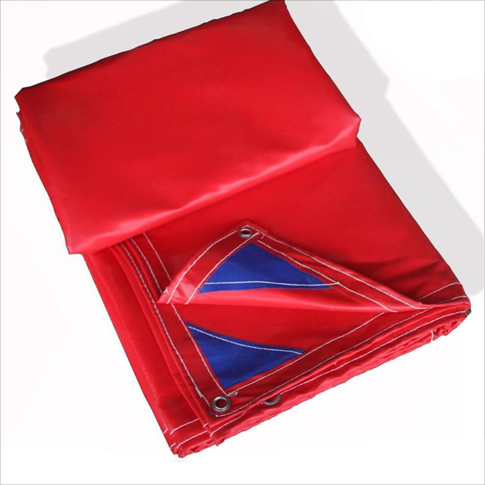 PENGFEI ターポリン オーニング 防水 カーポート 雨布 ピクニックマット 防湿性 防塵の 日焼け止め シェード PVC、 厚さ0.6mm、 600G/m2 (色 : 赤, サイズ さいず : 5x6m) B07D9K772S  赤 5x6m