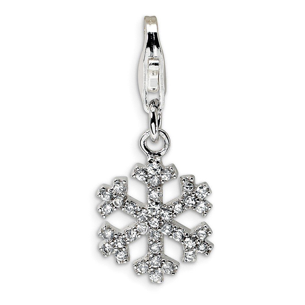 925 Sterling Silver CZ Snowflake w//Lobster Clasp Charm