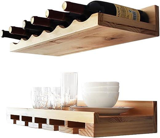 MoDi Botelleros Estante del Vino/Pared Europea Retra del Estante del Vino de la Madera sólida/Barra de la Pared de Cristal del Estante Techo botelleros de Vino: Amazon.es: Hogar