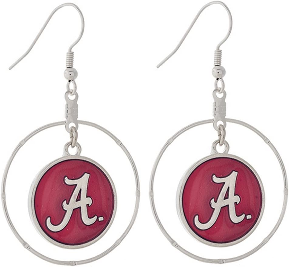 FTH Alabama Crimson Tide Silver Tone Earrings with a Red and Silver Logo A Charm Inside Silver Tone Ring