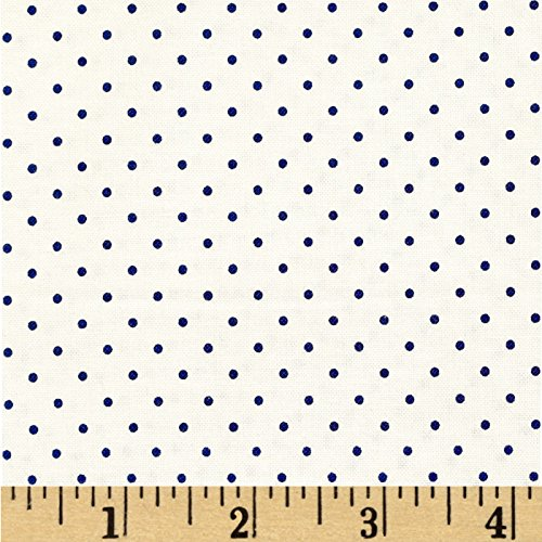 (Riley Blake Designs Riley Blake Swiss & Dots White/Navy Fabric by The Yard)
