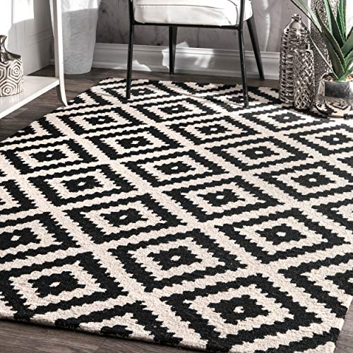 nuLOOM Contemporary Kellee Diamond Wool Rug, 5' x 8', Black