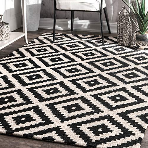 nuLOOM MTVS174A Kellee Contemporary Wool Rug, 8 Square, Black