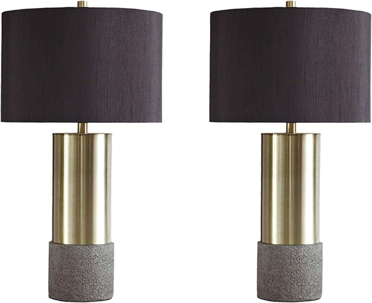 Amazon Com Signature Design By Ashley Jacek Table Lamps Set Of 2 Contemporary Gray Brass Finish Home Improvement
