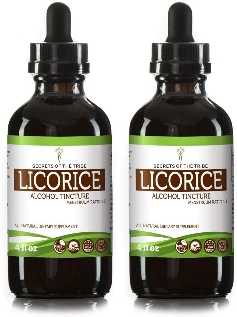 Licorice Tincture Alcohol Liquid Extract, Organic Licorice Glycyrrhiza Glabra Dried Root 2×4 FL OZ