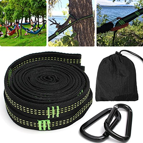 KINGSO Hammock Tree Straps 10 Ft Hammock Tree Hanging Straps With 2 Heavy Duty Carabiners 1 Carrying Bag by KINGSO