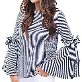 Women Striped Blouse ,Kaifongfu Fashion Shirt Summer Clothes Casual Flare Sleeve Tops