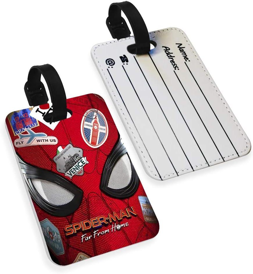 Spiderman /Étui pour Passeport et /étiquette de Bagage en Similicuir Motif Super-h/éros Multicolore Multicolore Luggage Tag