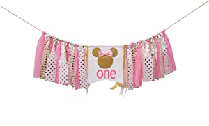 Pink and gold Minnie Mouse birthday banner, pink and gold Minnie Mouse highchair banner, pink and gold Minnie Mouse birthday decorations Girl 1st Birthday ,Photo Props Decoration, Baby Shower , Pink Party Decorations