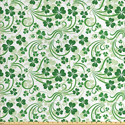 Lunarable Shamrock Fabric by The Yard, Lucky Celtic Clovers Swirls Monochrome Irish Design St Patrick's Day, Decorative Fabric for Upholstery and Home Accents, 1 Yard, Pale Green and Emerald