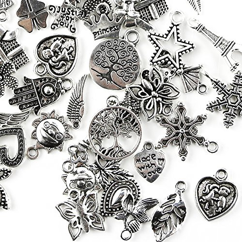 TKOnline 200Pcs Wholesale Bulk Smooth Tibetan Silver Pewter Charms Mixed Pendants DIY for Necklace Bracelet Jewelry Making and -