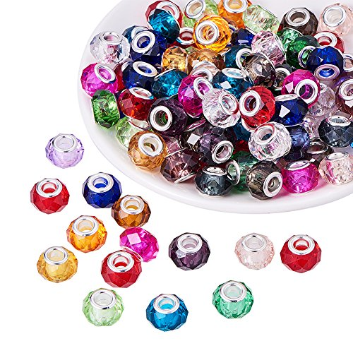 PH PandaHall 100pcs 14mm Mixed Color Glass European Beads with Plating Silver Double Cores Large Hole Beads for Jewelry Making, Hole: ()