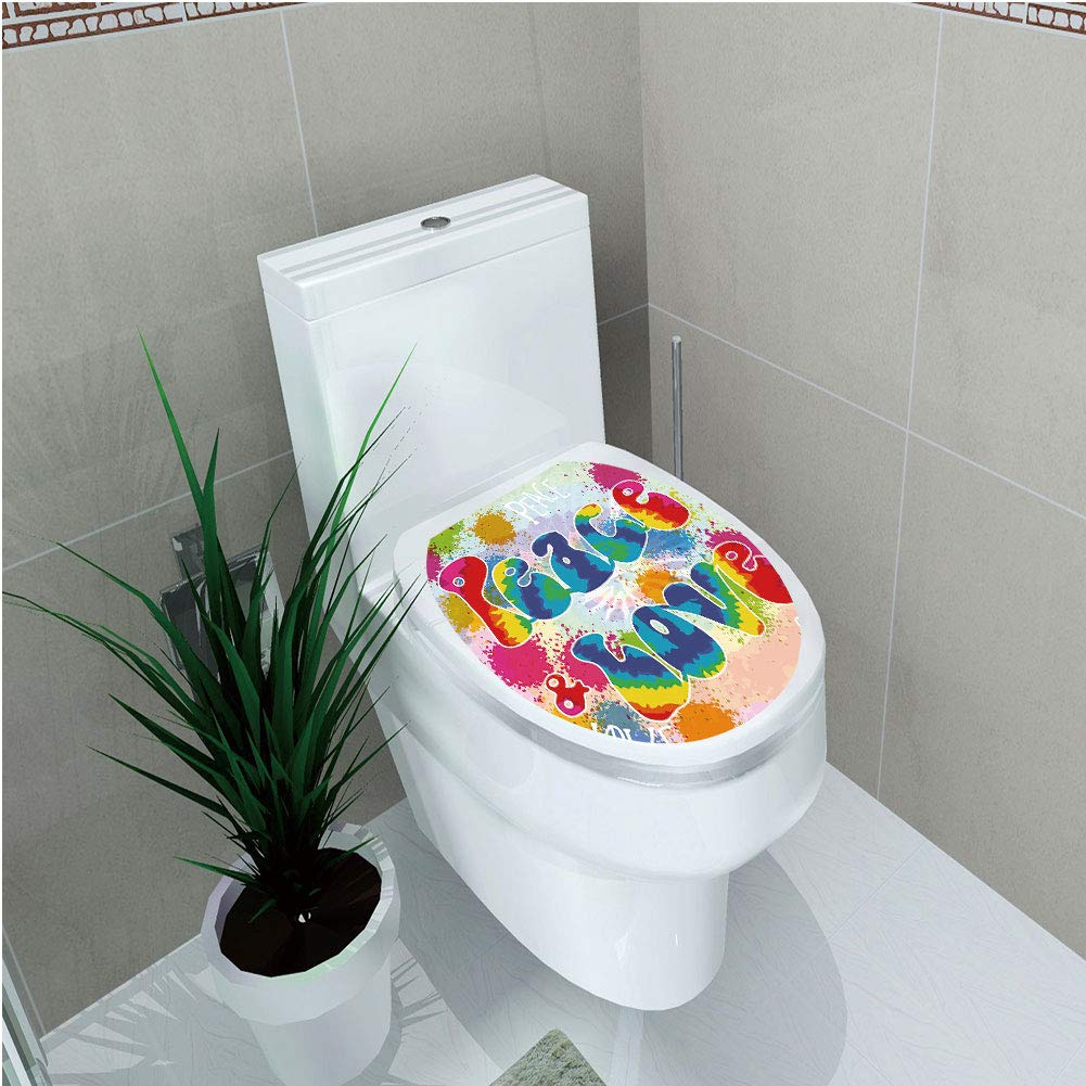 Toilet Sticker,70s Party Decorations,Peace and Love Tie Dye Funky Color Splashes Rainbow Abstract Artistic,Multicolor,Diversified,W12.6''xH14.9''