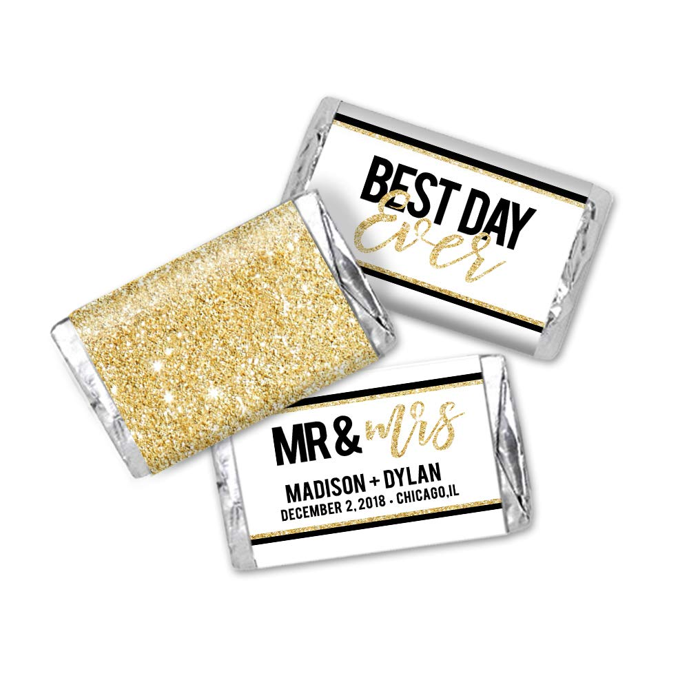 54 Total Best Day Ever Wedding Gold Personalized Favor Stickers Miniatures Candy Bar Wrapper Labels