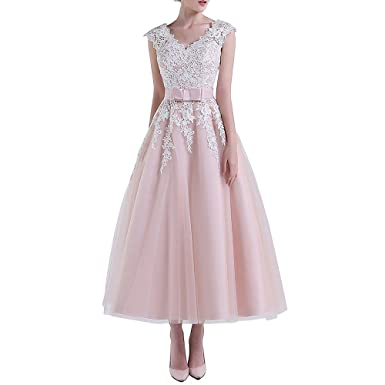 80038822e83 ABaowedding Women s Lace Short Wedding Dress for Bride V Neck Tea Length  Gowns US 14 Pink