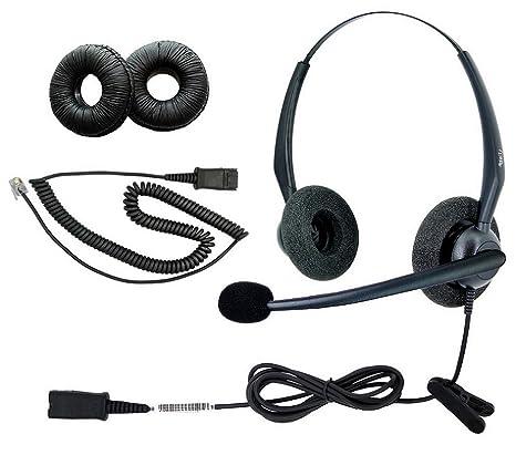 ebb079933c6 DailyHeadset RJ9 NC Duo Office Phone Corded Headset for Analog IP Office  Landline Phone Aastra Avaya