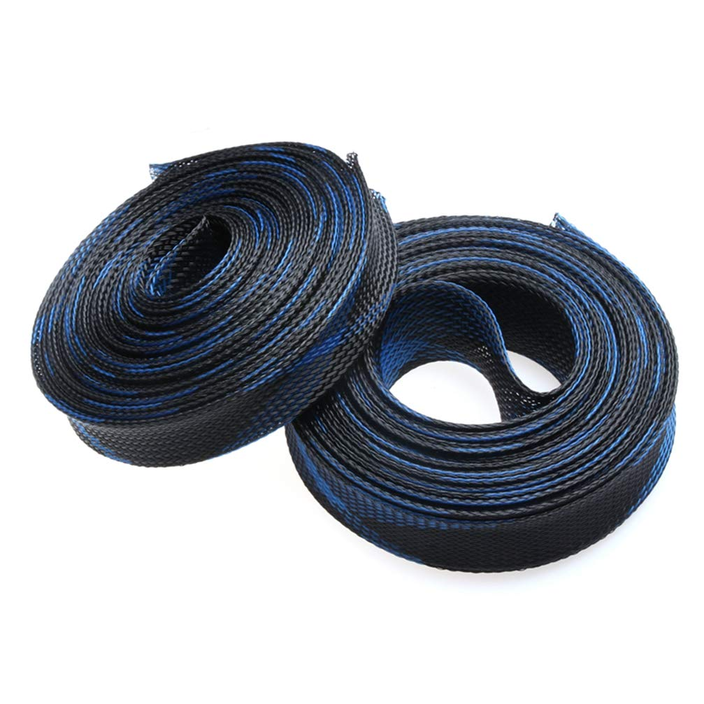5M High Density Insulation Blue&Black 4/6/8/10/12/15/20/25mm Wire Cable Protecting Tight PET Expandable Braided Cable Sleeves