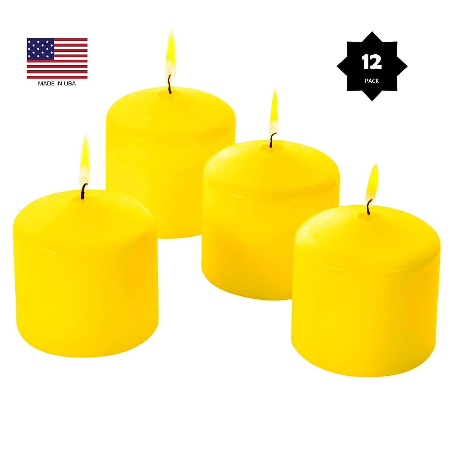 Citronella Pillar Candles Scented - BULK - Yellow Color - 3