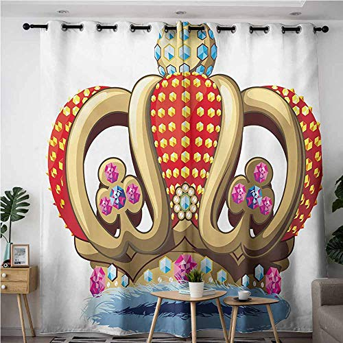 AndyTours Curtains for Bedroom,King,Royal Family Nobility Crown with Colorful Ornaments Image for Sovereign Print,Grommet Curtains for Bedroom,W84x108L,Red Blue and Golden