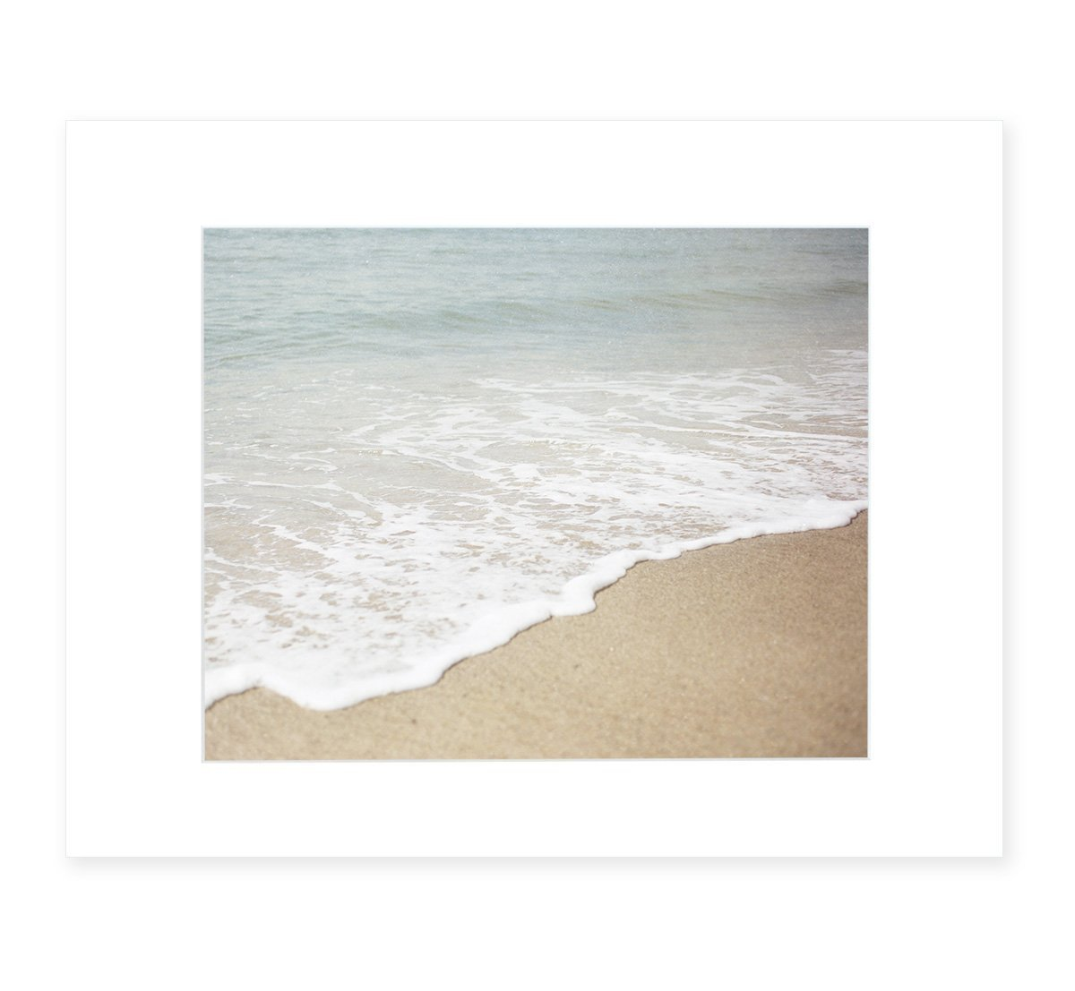 Beach Wall Art, Waves Foaming Ocean Picture, California Coastal Decor, 8x10 Matted Photographic Print (fits 11x14 frame) 'Chasing Surf' by Offley Green