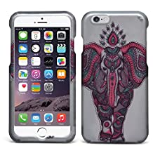 iPhone 6 Plus Case, MagicMobile® Hard Ultra Slim Protective Case for iPhone 6 Plus (5.5-inch) Armor Pink Cute [Elephant] Case For iPhone 6 Plus [Elephant-Pattern] Print Design on Gray Plastic Cover