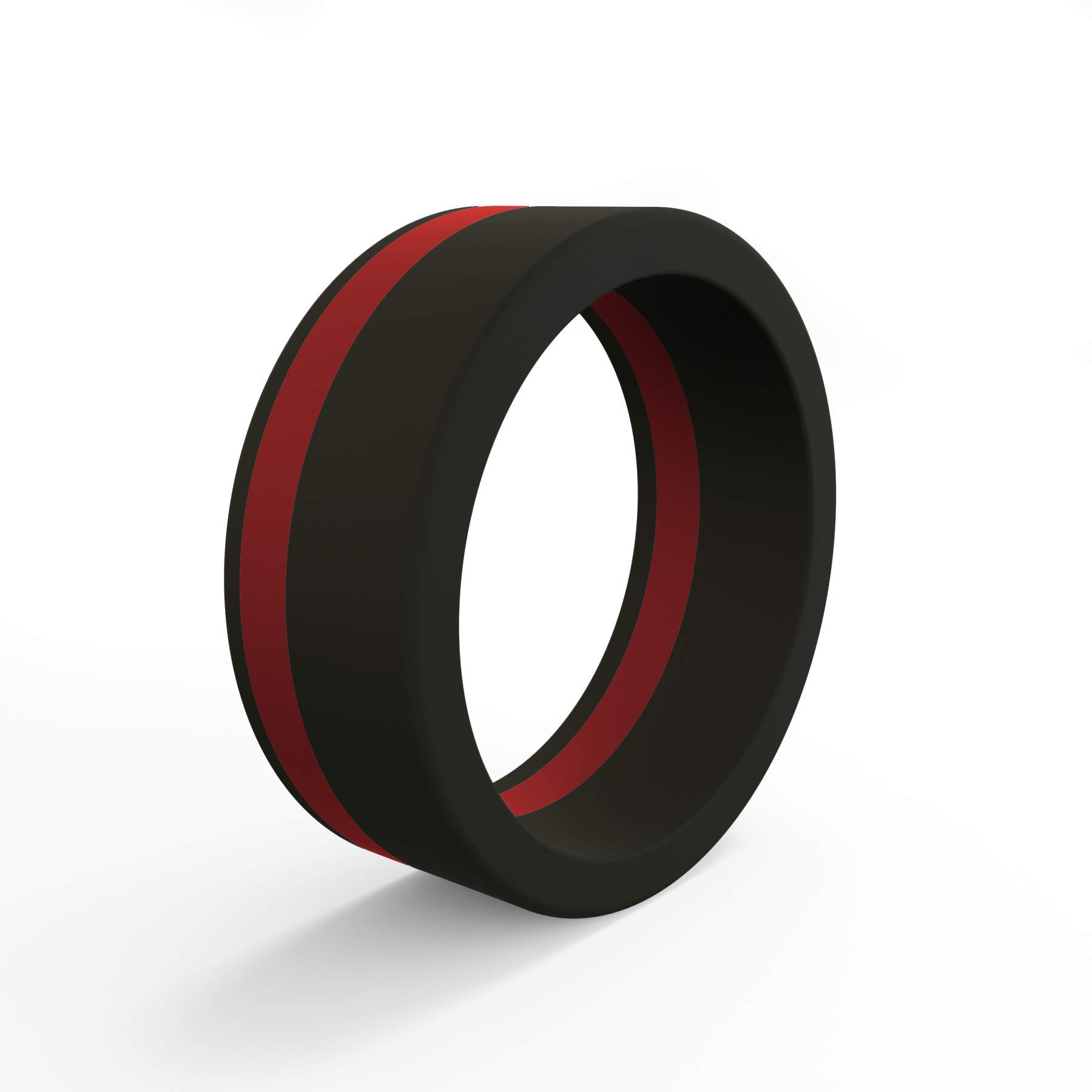 QALO Men's Silicone Pinstripe Ring, Thin Red Line - Honoring Firefighters and First Responders, Size 10