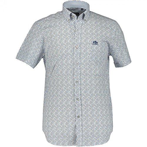State of Art hochwertige kurzarm Baumwoll Hemden Blau/Weiß M