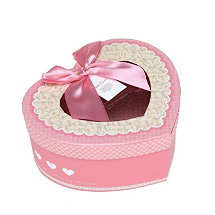 Exquisita caja de regalo en forma de corazón rosa, cajas de golosinas decorativas, pasteles