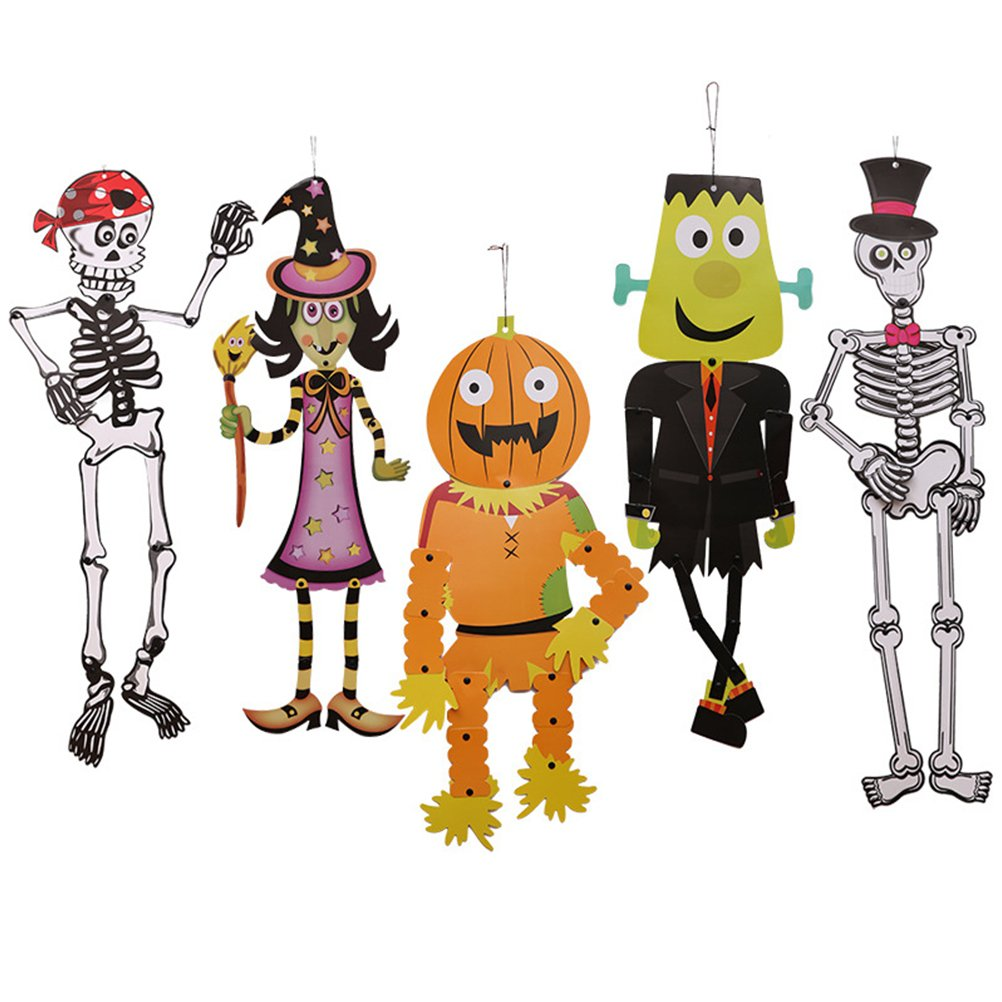 Fundic 5 en 1 DIY Décoration Halloween à Suspendre pour Fêtes Soirées