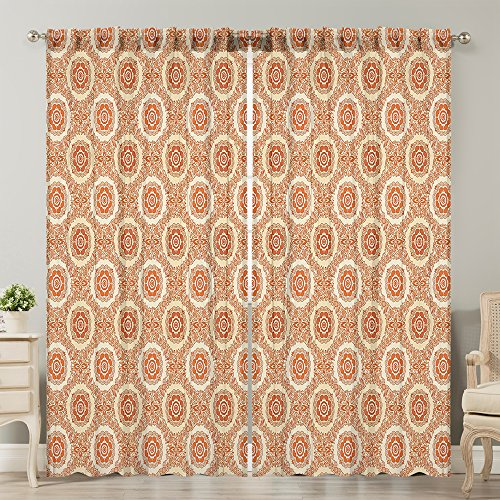 - Moslion Window Curtain Orange Beige Ornamental Baroque Leaves Orange Beige Window Curtains/Panels for Bedroom/Living Room Satin Drapes Light Reducing 2 Panels 108Wx120L Inch