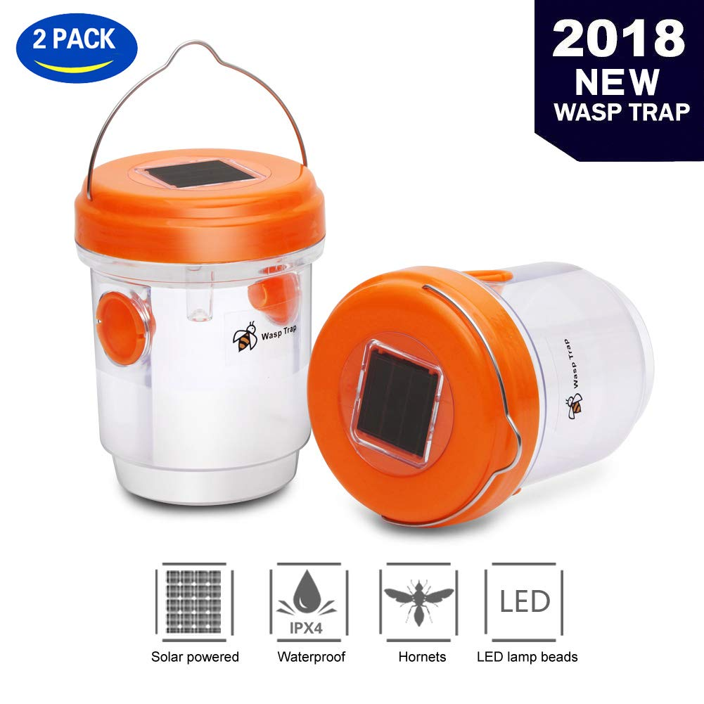 T Box Upgraded Version Solar Powered Wasp Trap with UV LED Light,Hornet Trap,Yellow Jacket Traps & Wasp Traps for Outdoors,Wasp Killer,Effective and Reusable (Orange)
