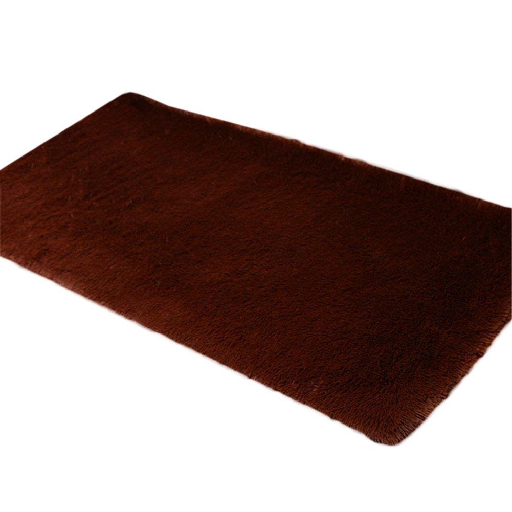 Cdet Modernas alfombras de seda sala de estar rectangular mesa de café sofá cama alfombras alfombras(Marrón)