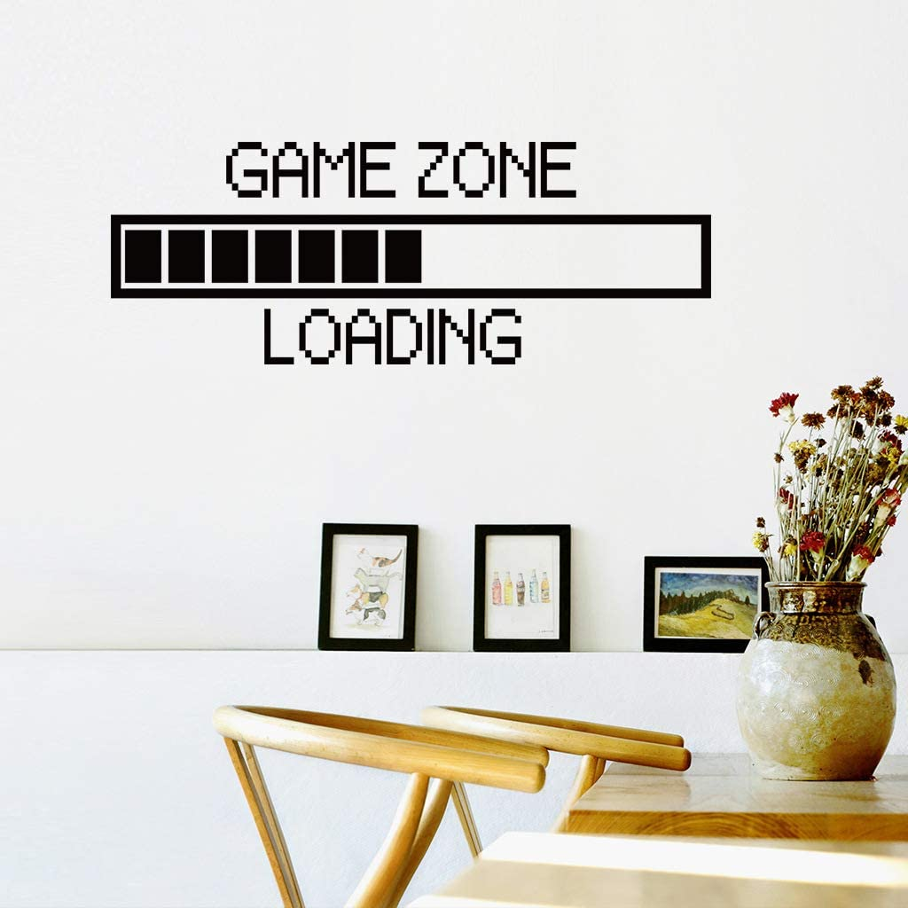Game Zone Wall Decal, Gamer Loading Wall Stickers, DIY Art Mural Player Decor, Vinyl Poster Lettering Wallpaper for Kids Boys Playroom Bedroom Nursery Living Room, Home Decoration Background Décor