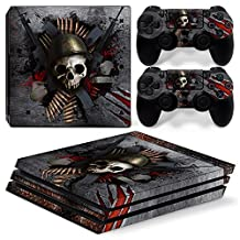 Ps4 PRO Playstation 4 Console Skin Decal Sticker Skull + 2 Controller Skins Set (PRO Only)
