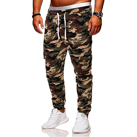 359f97e440 Men Pants Daoroka Men's Casual Camouflage Long Patchwork Jogger Gym  Athletic Running Sports Trousers Sweatpants