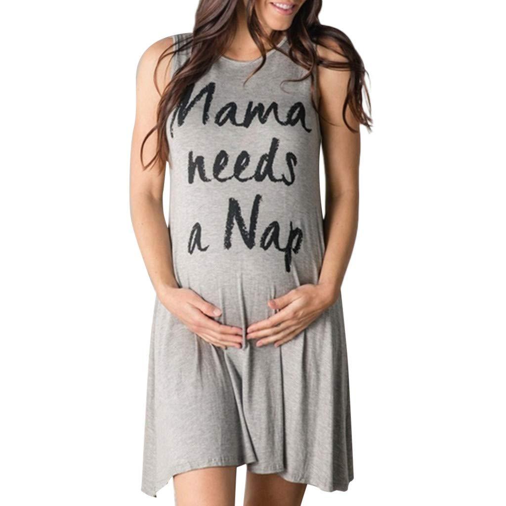 Mambain Abito Gravidanza Estate,Vestito Premaman Firmato Miniabito Incinta Estate Senza Manica Abbigliamento prémaman Donna Vestiti Madre Mamme maternità