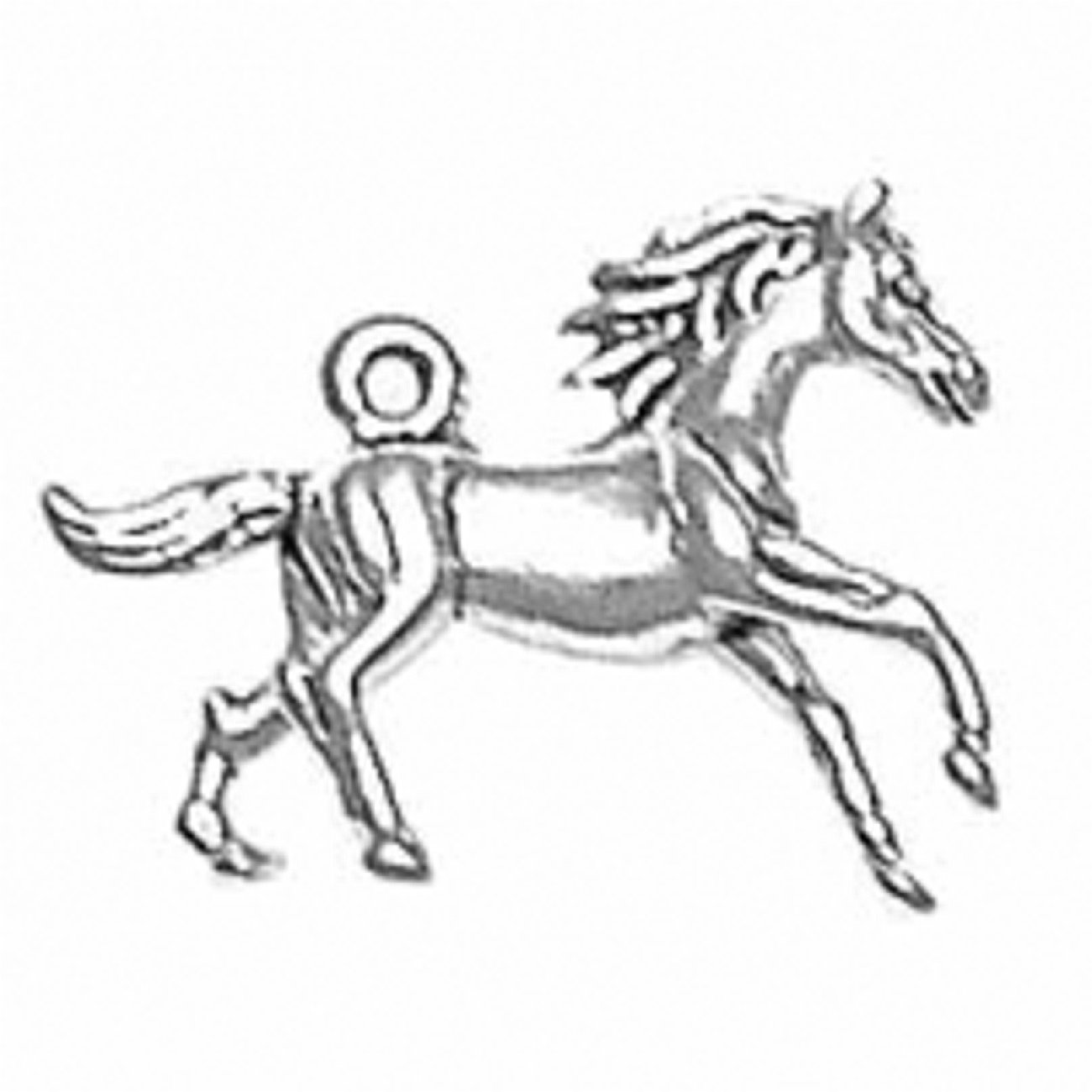 Sterling Silver Girls .8mm Box Chain 3D Galloping Horse Pendant Necklace Flowing Mane