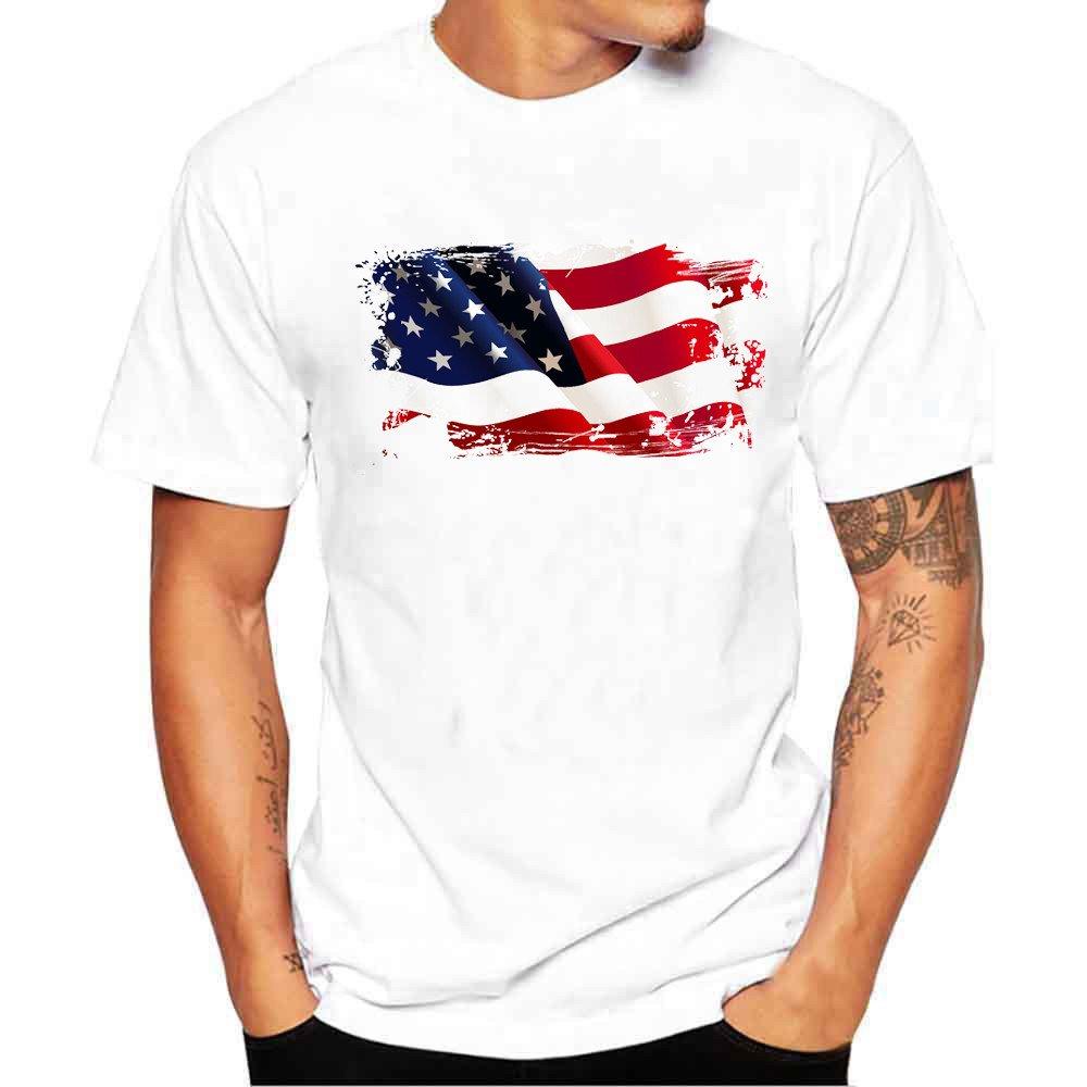 AOmahh Men's Printing Tees, Flag Graphic Printed Shirt Short Sleeve T Shirt Blouse White