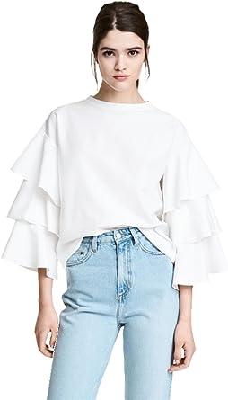 Varias Capas Volante Volantes Mangas Acampanadas Manga Larga Blusón Blusa T-Shirt Camiseta Playera Camisero Camiseta Camisa tee Top Blanco 2XL: Amazon.es: Ropa y accesorios