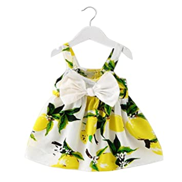 Summer Girls Dress Lemon Print Princess Cotton Clothes Kids Girl Party Sundress