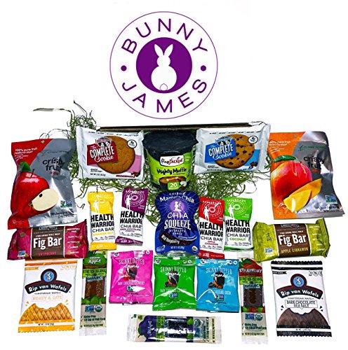 Natural, Organic, Non GMO Healthy Snacks & Gourmet Candy Bunny James Easter Gift Basket (Everyone Gift Basket)