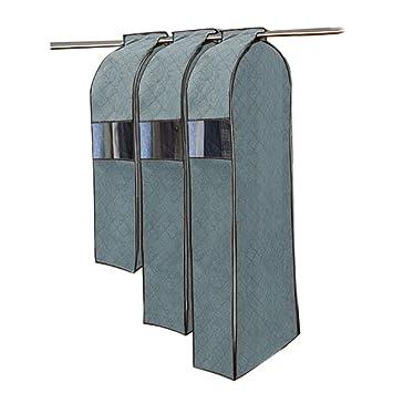 Gosear 3 Piezas Cubierta de Prueba Polvo de Protección de Tela No Tejida Bolsa para Traje Abrigo Vestido Ropa con Ventana Clara,Gris