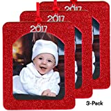 ornament frame - 2017 Magnetic Glitter Christmas Photo Frame Ornaments with Non-Glare Photo Protector, Vertical 3-pack - Red