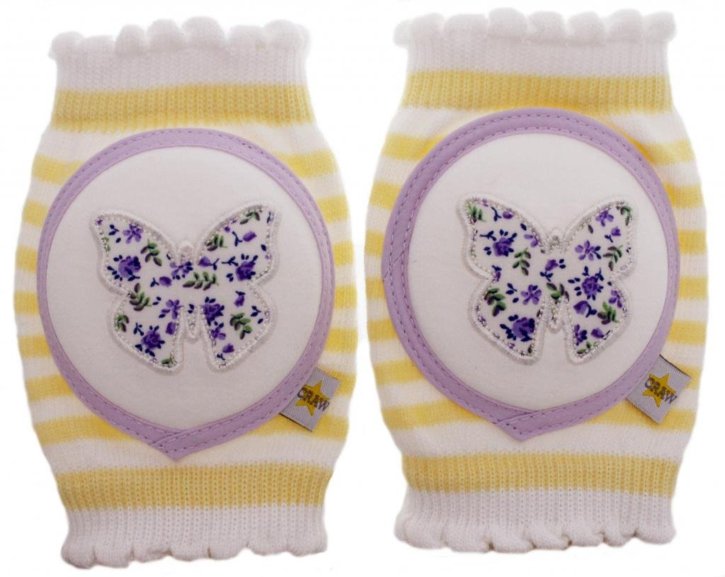 Crawlings Girl's Butterfly Knee Pads One Size Sugar Cookie by Crawlings